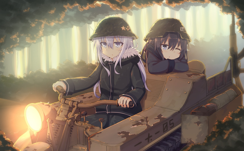 2girls akatsuki_(kancolle) anthropomorphism combat_vehicle hibiki_(kancolle) kantai_collection military parody shinopoko shoujo_shuumatsu_ryoukou verniy_(kancolle)
