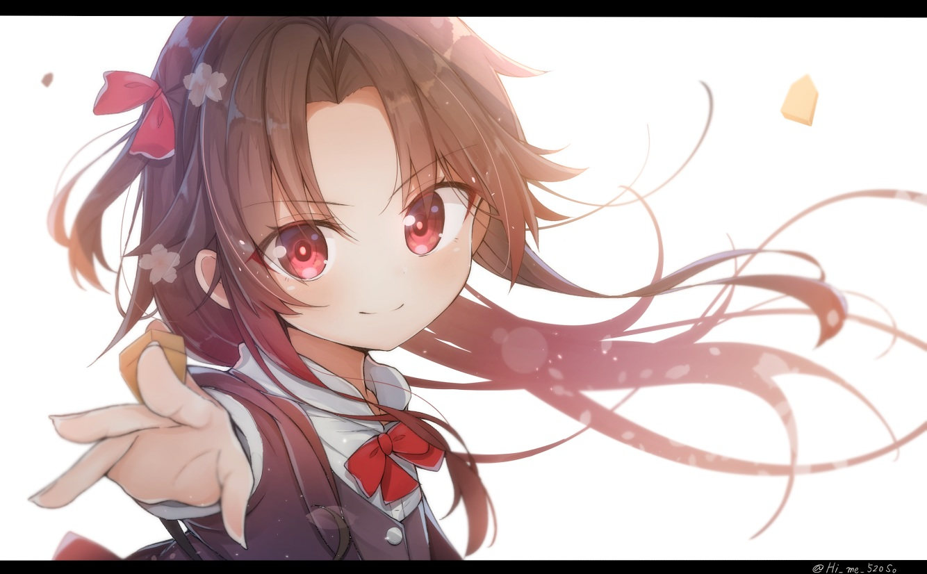 bow brown_hair himemiya_shuang loli long_hair red_eyes ryuuou_no_oshigoto! signed yashajin_ai
