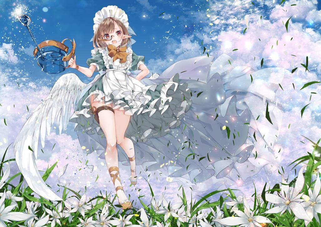 apron blush brown_hair clouds dress flowers garter glasses grass headdress maid orange_eyes original pointed_ears short_hair sky umi_no_mizu water