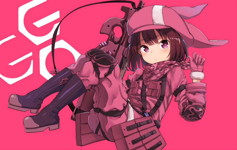 brown_hair gloves gun hat ivan_624 kohiruimaki_karen llenn_(sao) loli military pink_eyes short_hair sword_art_online sword_art_online_alternative:_gun_gale_online weapon