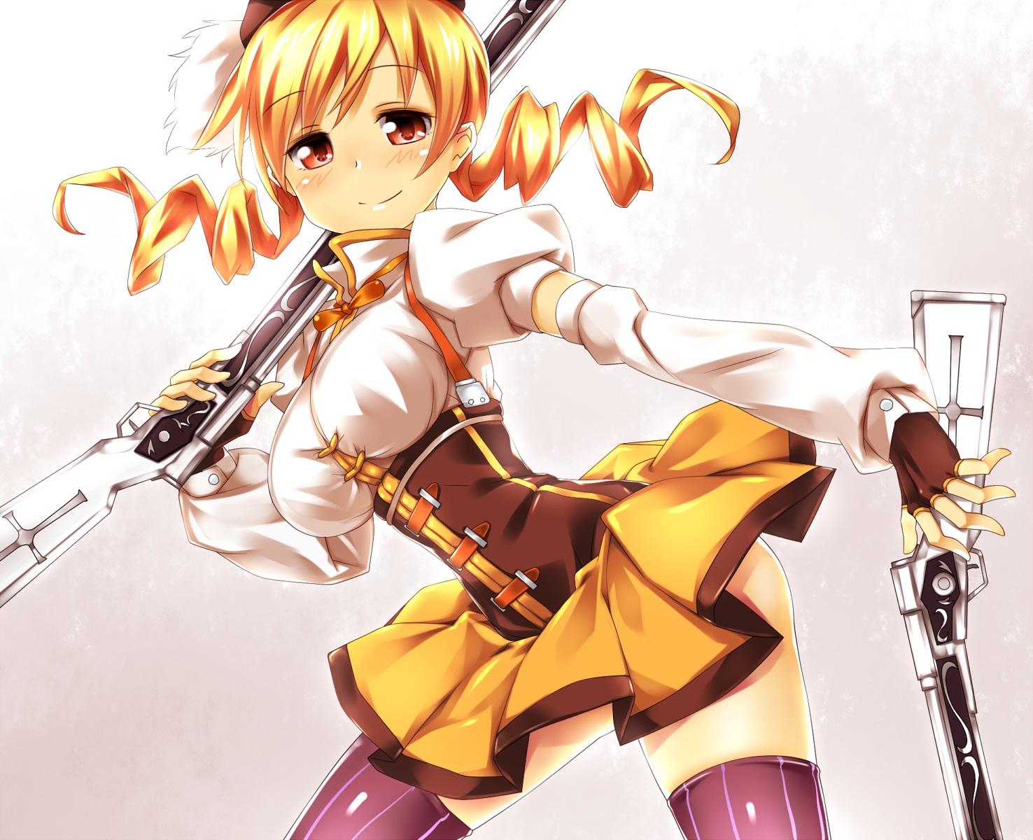 blonde_hair gloves gun hat keikotsu long_hair mahou_shoujo_madoka_magica red_eyes skirt thighhighs tomoe_mami twintails weapon