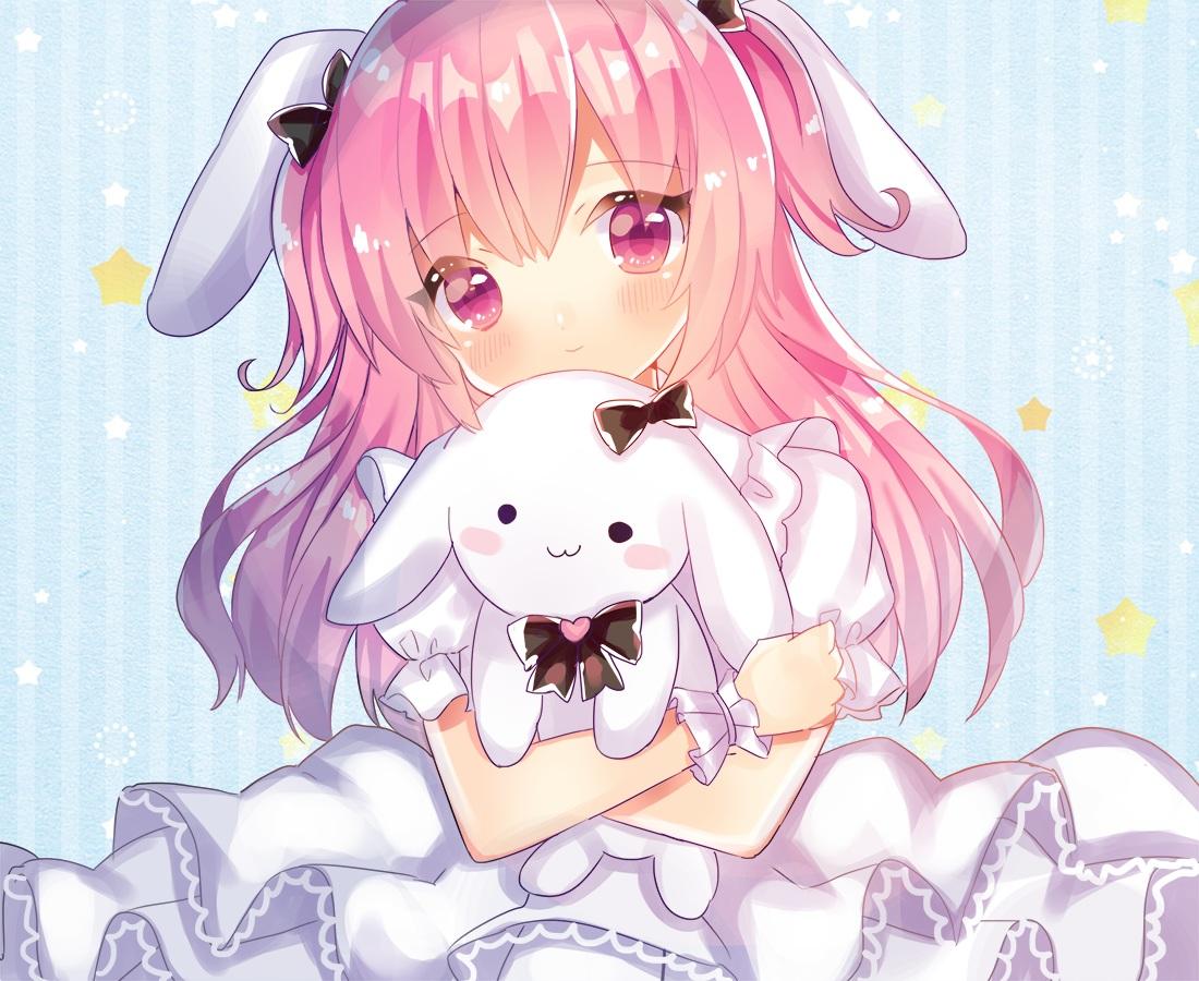 animal_ears blush bunny bunny_ears close kohaku_muro lolita_fashion long_hair original pink_eyes pink_hair wristwear