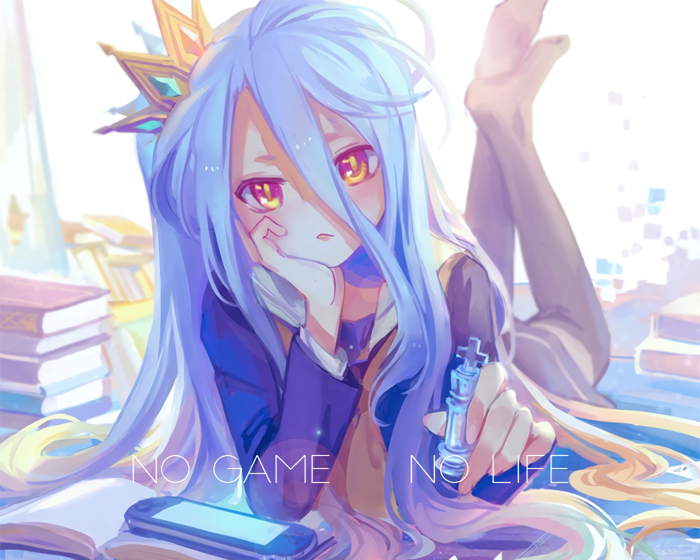 barefoot book cropped crown game_console kirayoci loli no_game_no_life orange_eyes school_uniform shiro_(no_game_no_life) thighhighs waifu2x white_hair