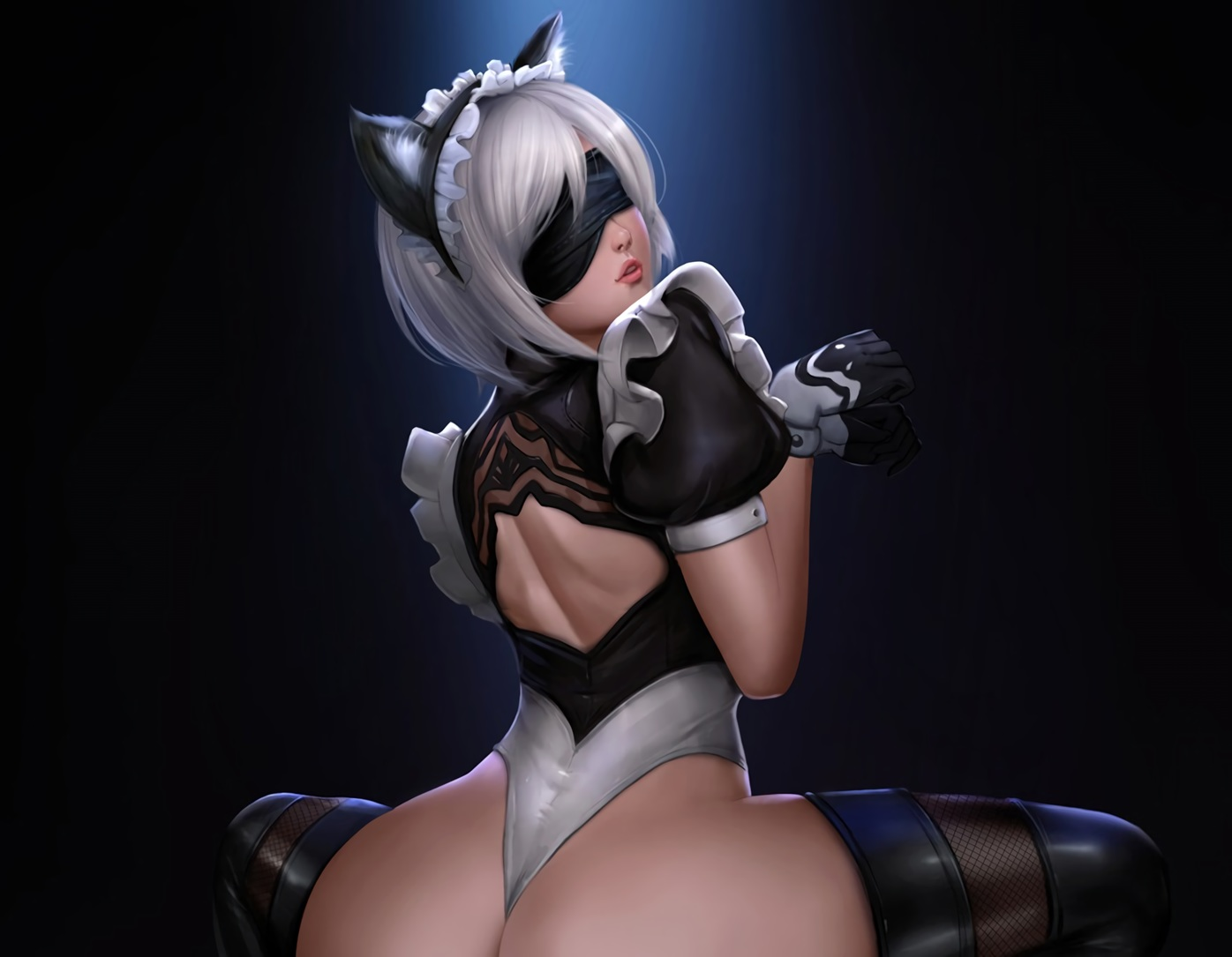 animal_ears ass blindfold boots catgirl cropped felox08 gloves gray_hair headdress leotard nier nier:_automata realistic spread_legs thighhighs waifu2x yorha_unit_no._2_type_b