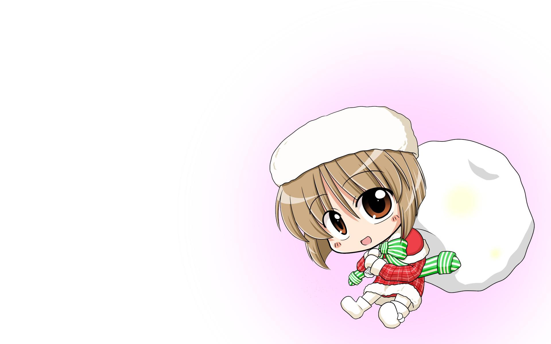 chibi christmas hagiwara_yukiho hat idolmaster ribbons wagomu17