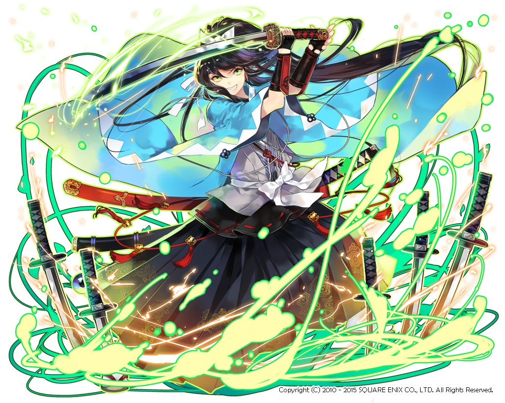 armor black_hair cape green_eyes japanese_clothes kaku-san-sei_million_arthur katana long_hair ponytail seal_(pukozin) sword watermark weapon