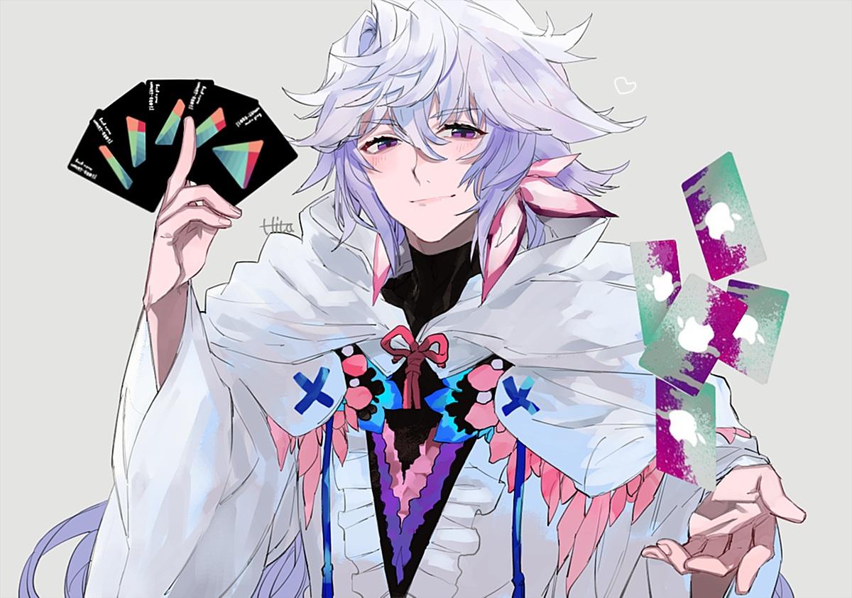 all_male cape fate/grand_order fate_(series) hita_(hitapita) hoodie long_hair male merlin_(fate/grand_order) purple_eyes signed white_hair