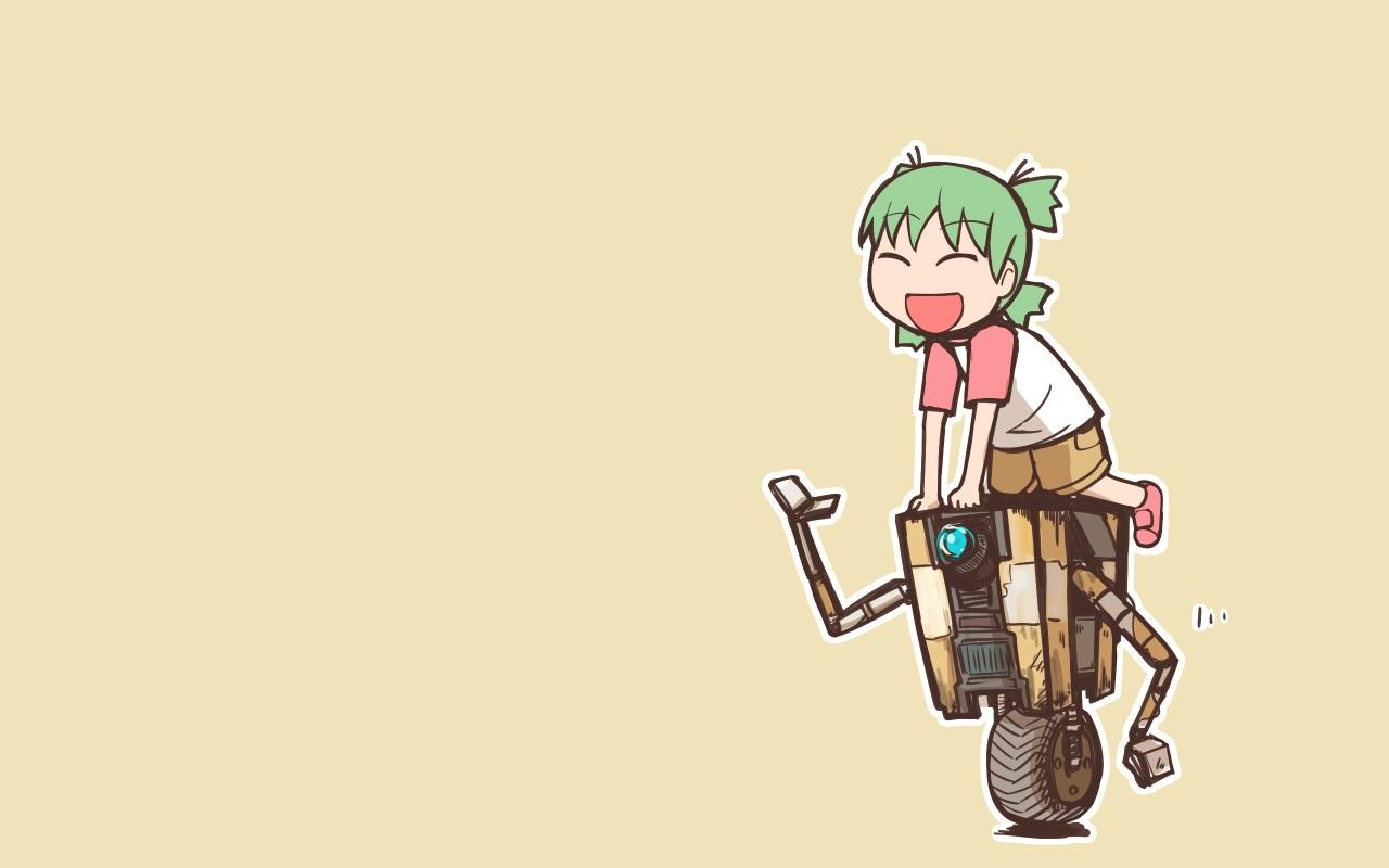 borderlands borderlands_2 claptrap crossover green_hair koiwai_yotsuba loli nns_(sobchan) robot short_hair shorts yellow yotsubato!
