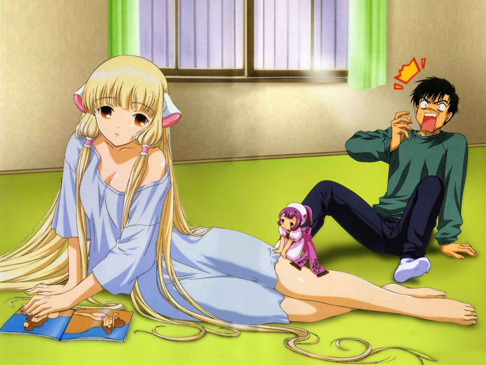barefoot black_hair blonde_hair book brown_eyes chii chobits long_hair male pajamas sumomo techgirl third-party_edit