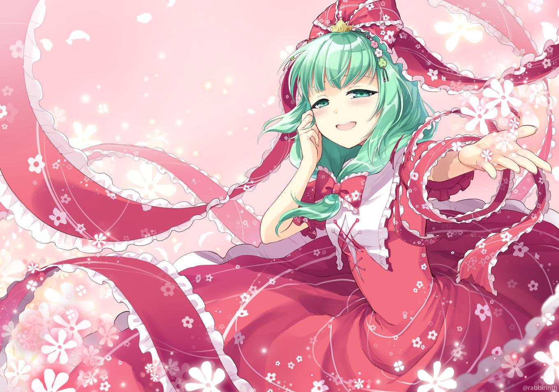 blush bow dress flowers green_eyes green_hair kagiyama_hina long_hair mito_tsubaki touhou watermark