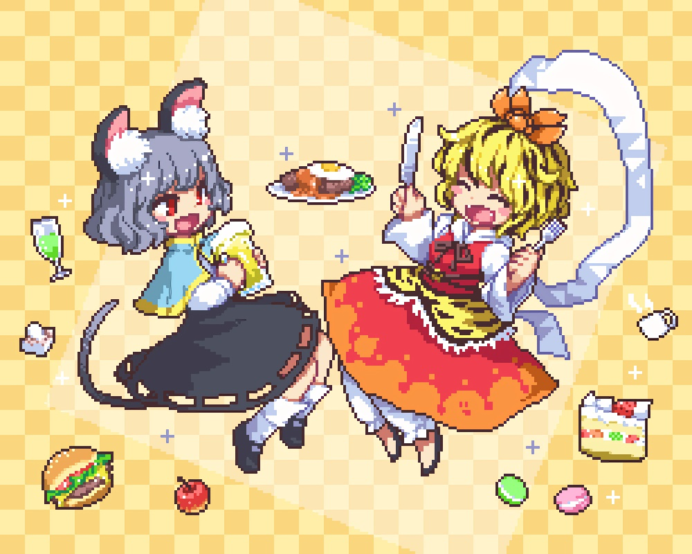 animal_ears apple blonde_hair cake cropped dress drink fang food fruit gray_hair kumamoto_(bbtonhk2) mousegirl nazrin red_eyes shirt short_hair skirt socks strawberry tail toramaru_shou touhou waifu2x