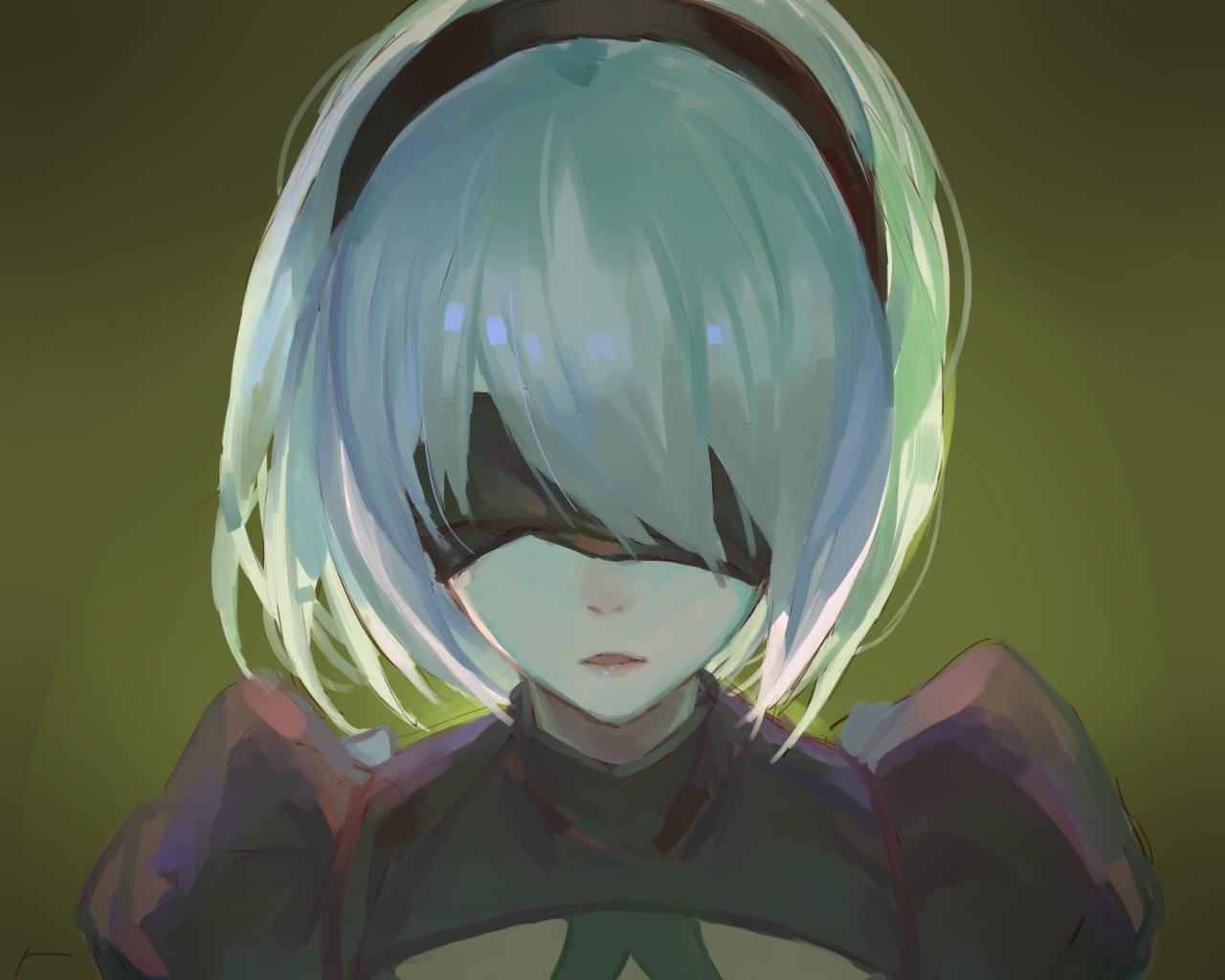 blindfold close green headband nier nier:_automata red_cucumber short_hair sketch white_hair yorha_unit_no._2_type_b