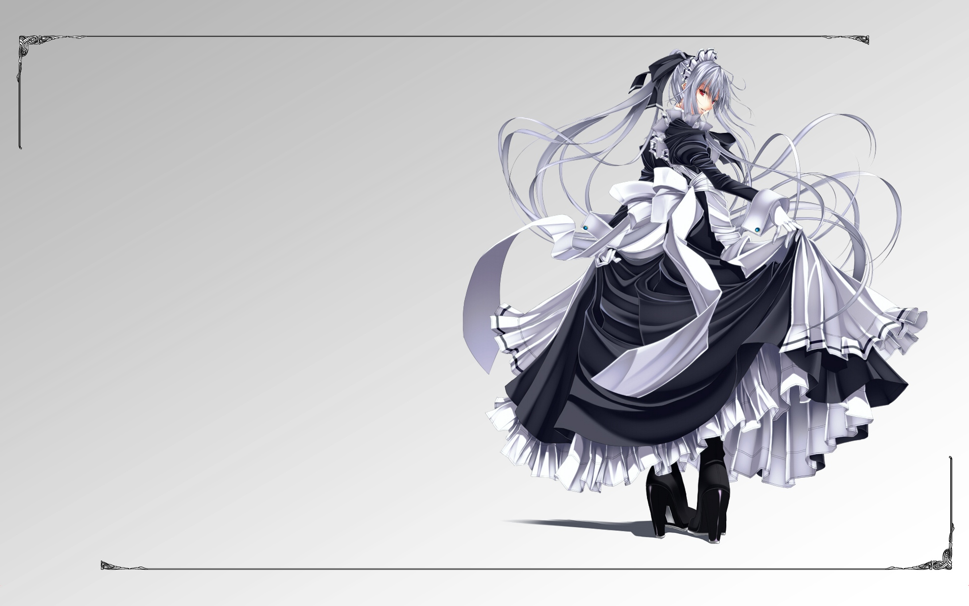 gloves gray_hair long_hair maid red_eyes seifuku