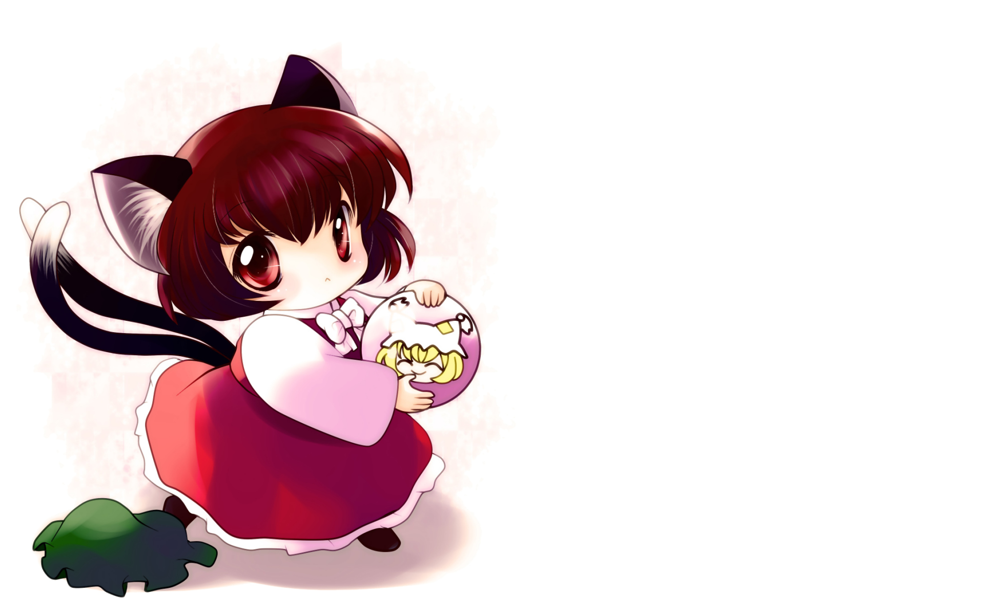animal_ears catgirl chen chibi hat multiple_tails tail touhou white yakumo_ran yume_shokunin
