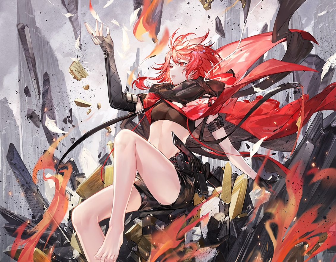 akabane_(synthv) atdan barefoot cape cropped elbow_gloves feathers fire gloves red_eyes red_hair ruins scarf short_hair shorts synthesizer_v weapon