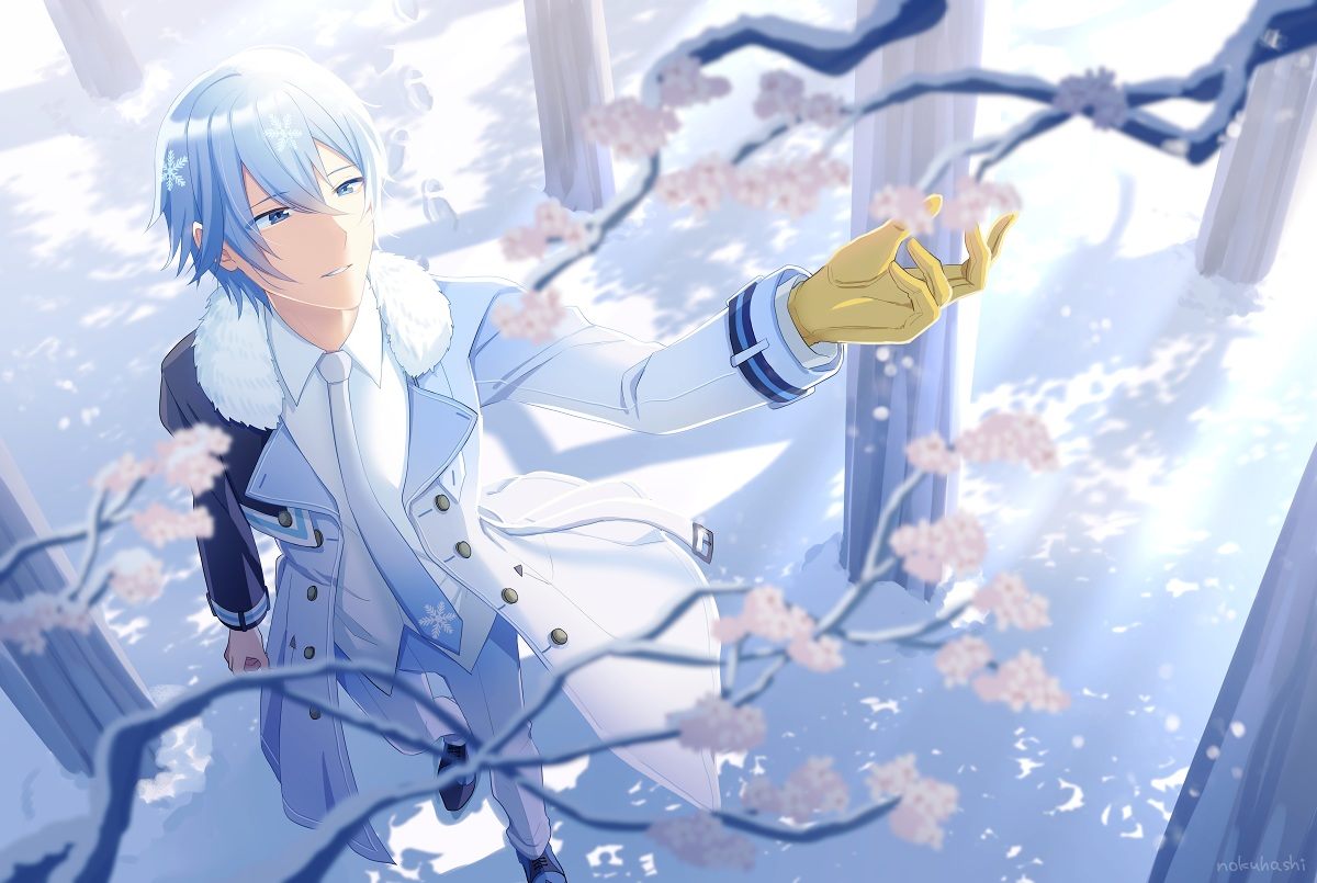aliasing all_male blue_eyes cherry_blossoms flowers kaito male nokuhashi short_hair signed snow tie vocaloid white_hair