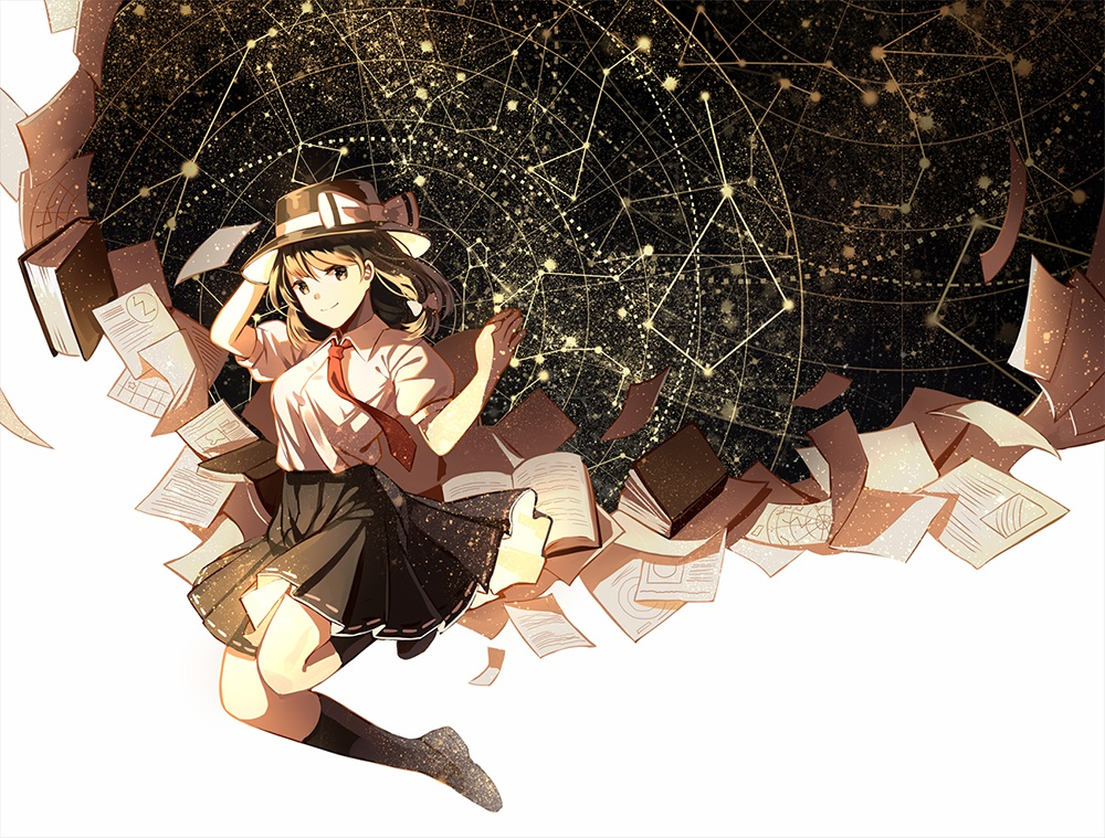book bow brown_eyes brown_hair hat kneehighs long_hair paper school_uniform silence_girl skirt tie touhou usami_renko