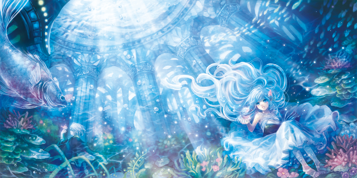 animal aqua_hair barefoot blue_eyes book chiko_(d04099) dress fish flowers long_hair original short_hair underwater water white_hair