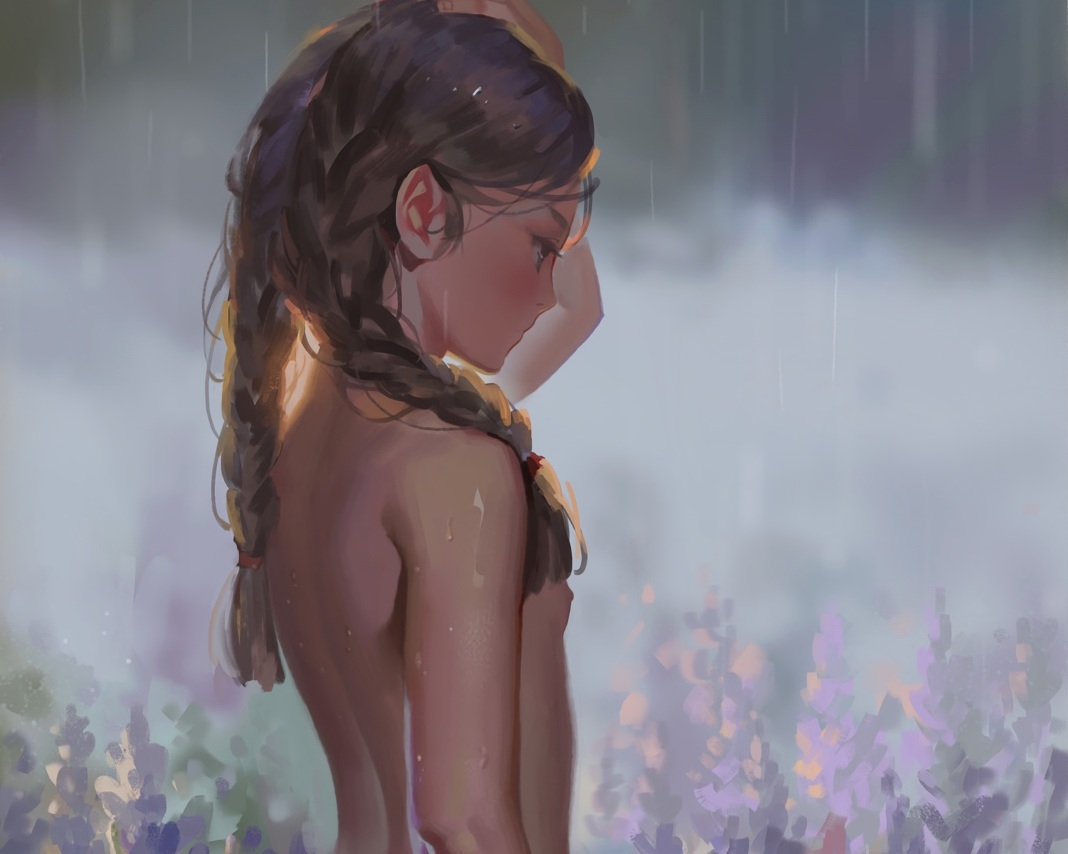 alphonse braids brown_hair cropped flowers loli long_hair nipples nude original rain topless twintails water