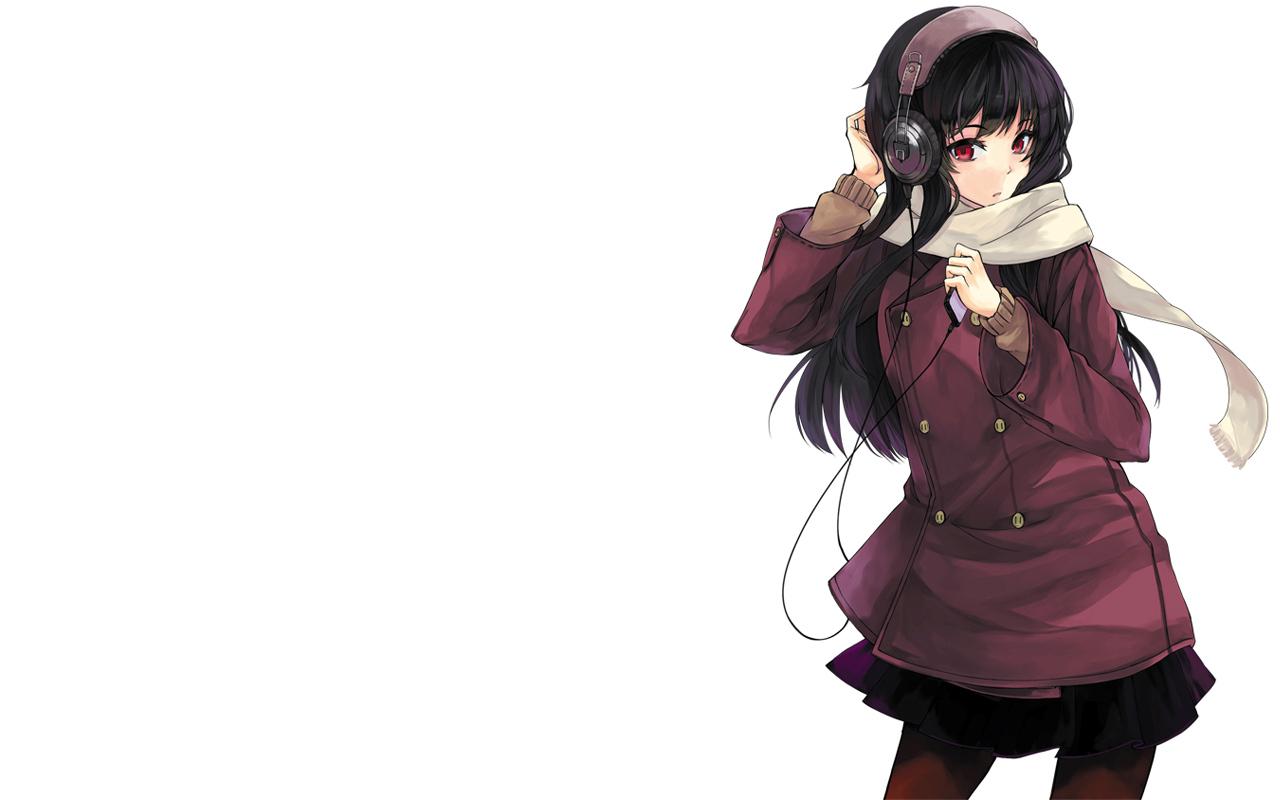 black_hair headphones long_hair original rage_(rojiura) red_eyes scarf skirt stockings white