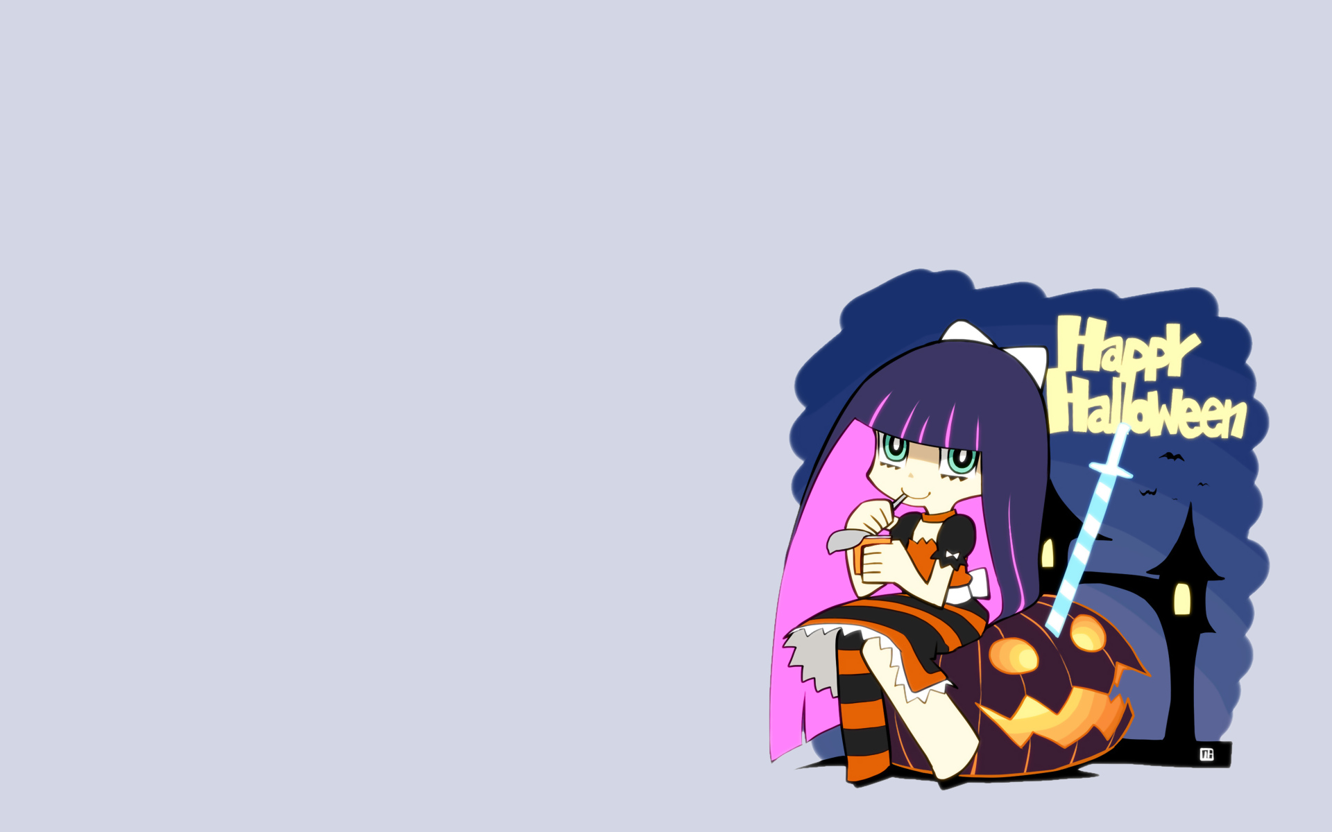 halloween katana nagian panty_&_stocking_with_garterbelt stocking_(character) sword weapon