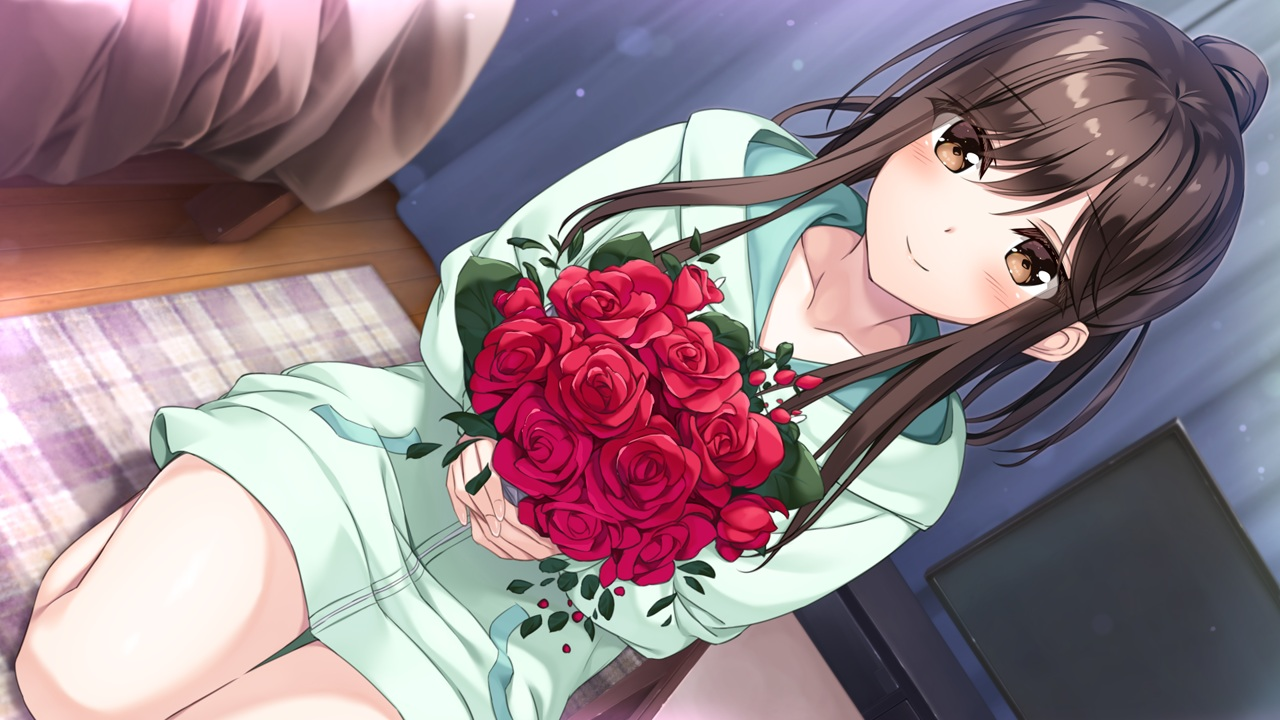 flowers futagawa_haru game_cg hibiki_works hoodie oryou pajamas re_cation_~melty_healing~ rose