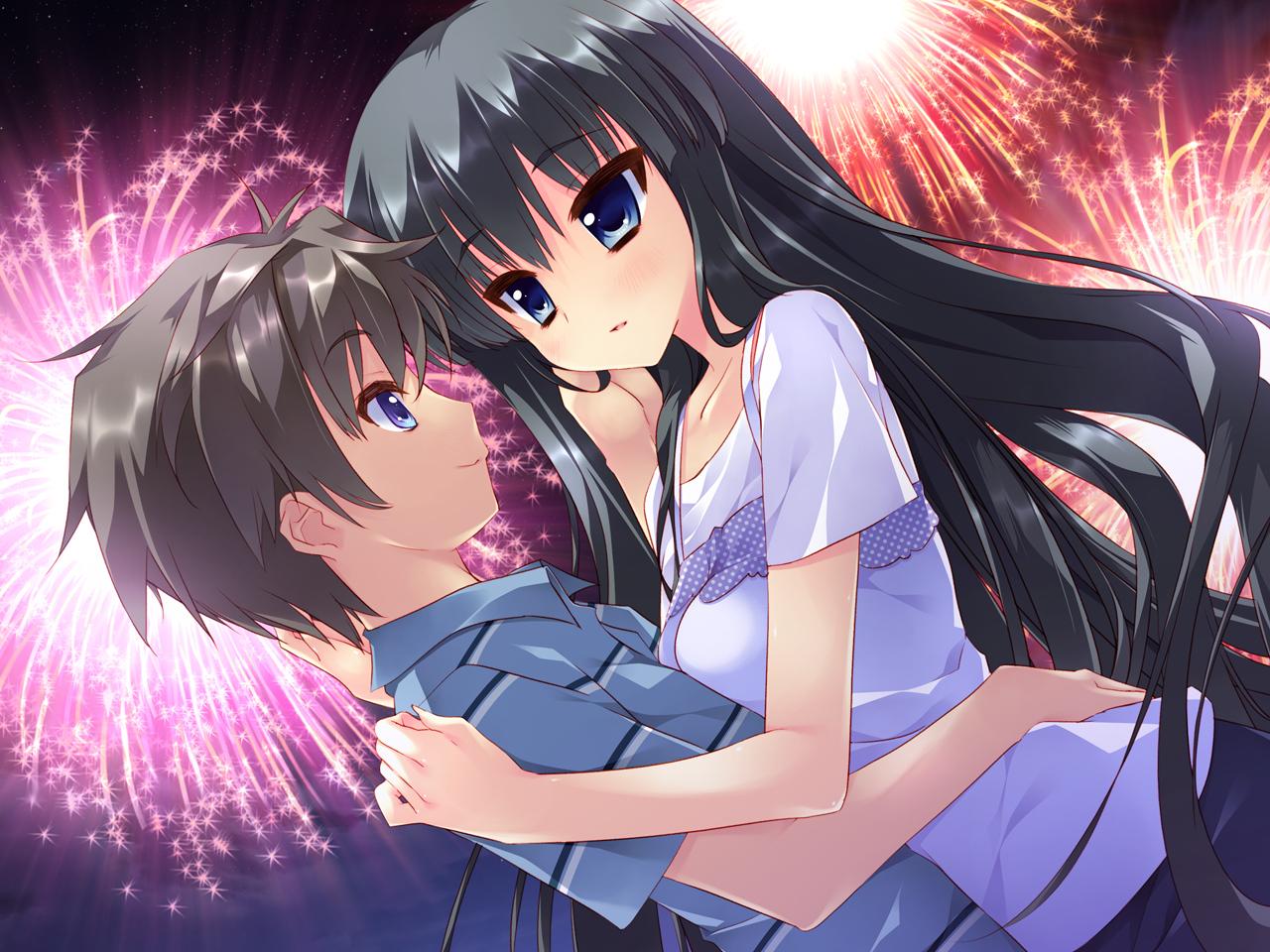 black_hair blue_eyes feng fireworks game_cg hoshizora_e_kakaru_hashi hoshizora_e_kakaru_hashi_aa long_hair night yorozu_senka