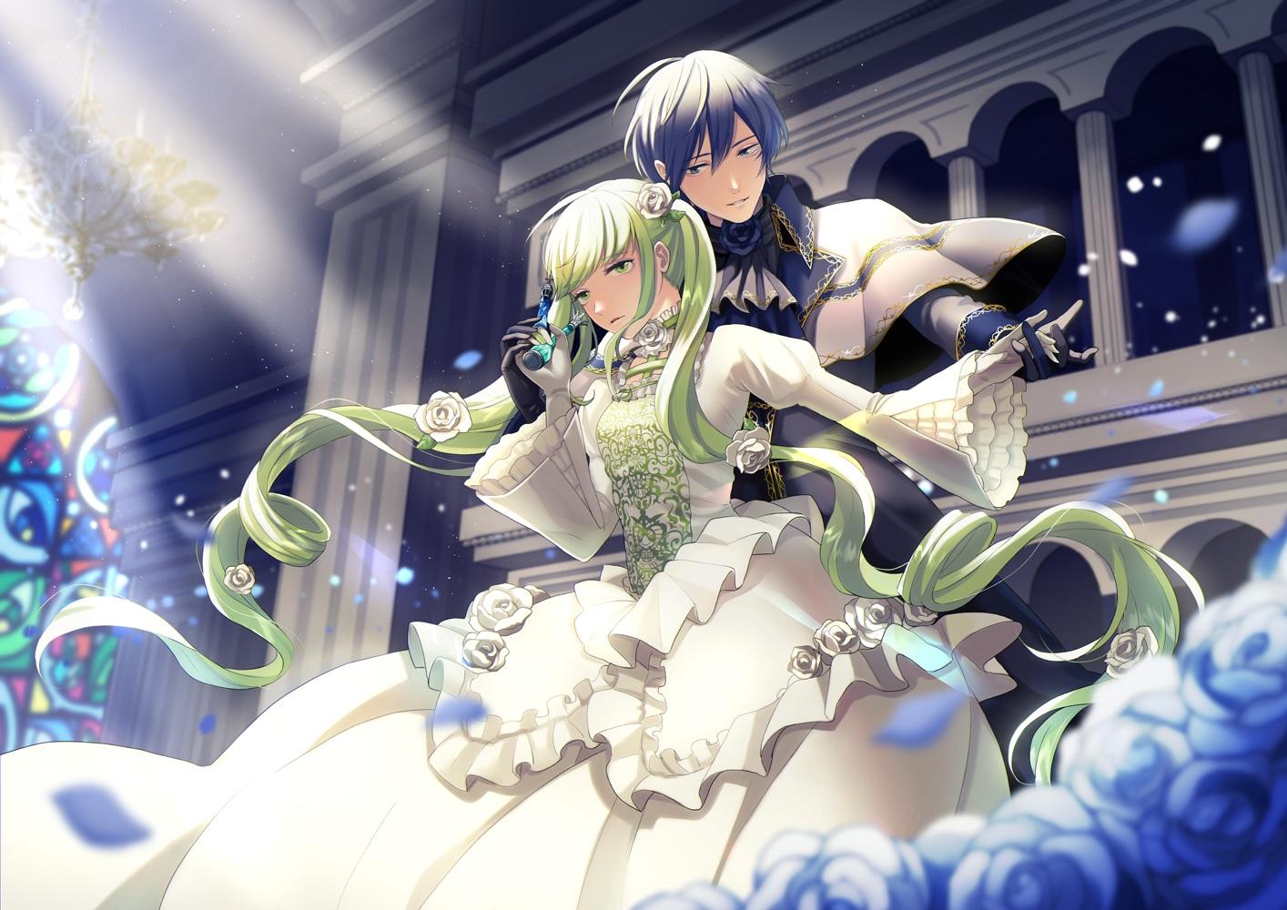 blue_eyes blue_hair building cantarella_(vocaloid) dress flowers gloves green_eyes green_hair hatsune_miku kaito male nokuhashi petals rose vocaloid