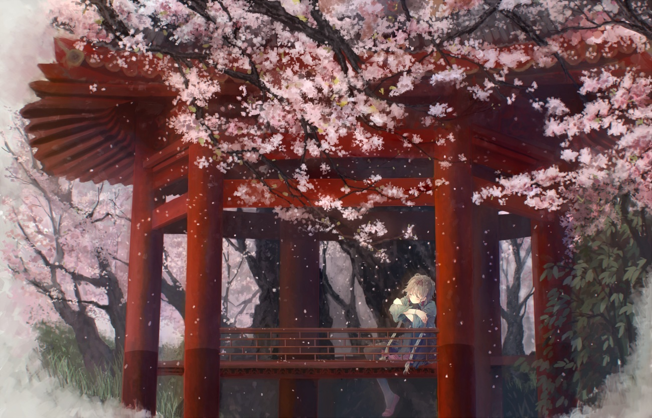 bou_shaku cherry_blossoms flowers gray_hair leaves luo_tianyi torii tree vocaloid vsinger