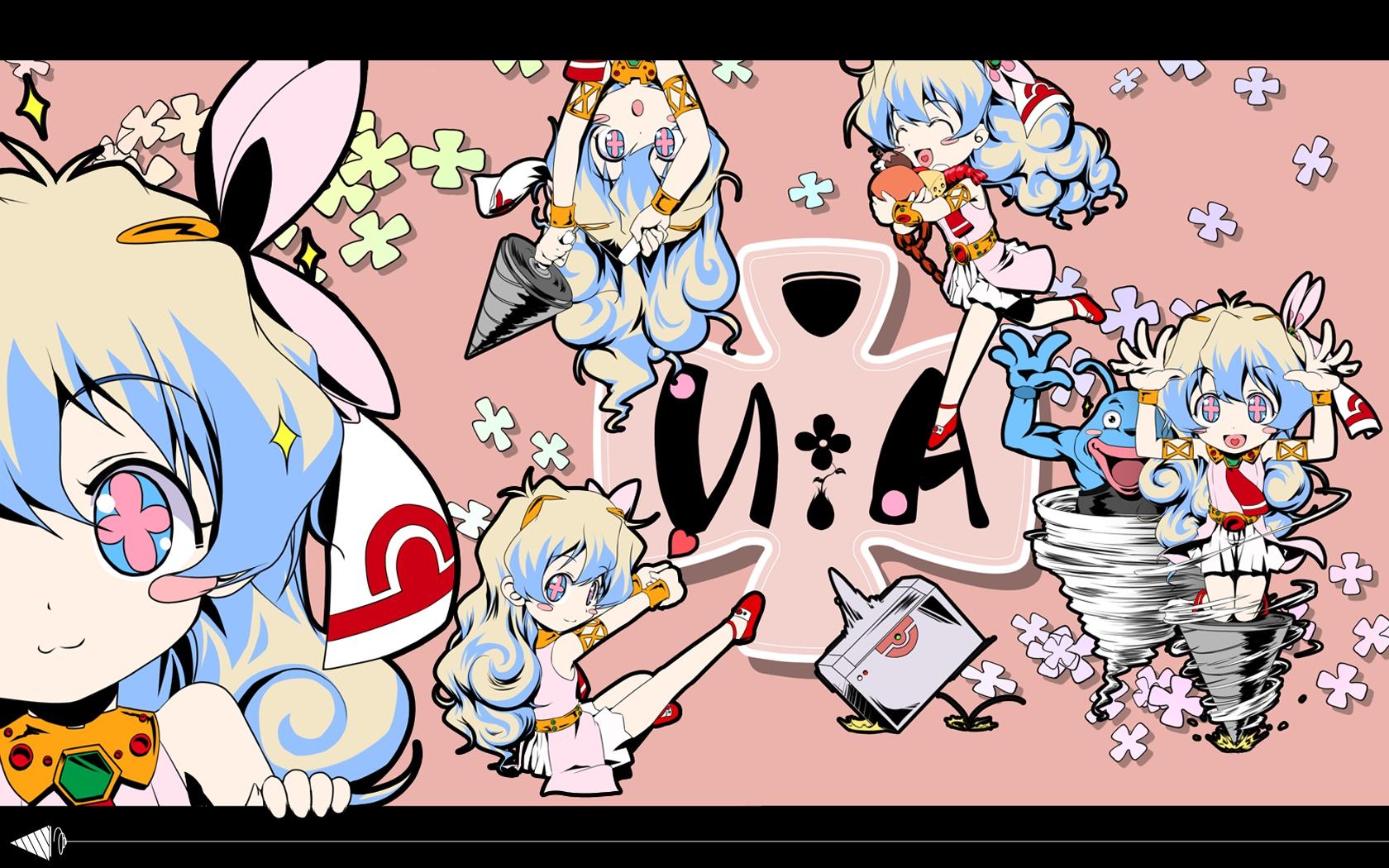 chibi crossover gainax nia_teppelin pink tagme tengen_toppa_gurren_lagann vector
