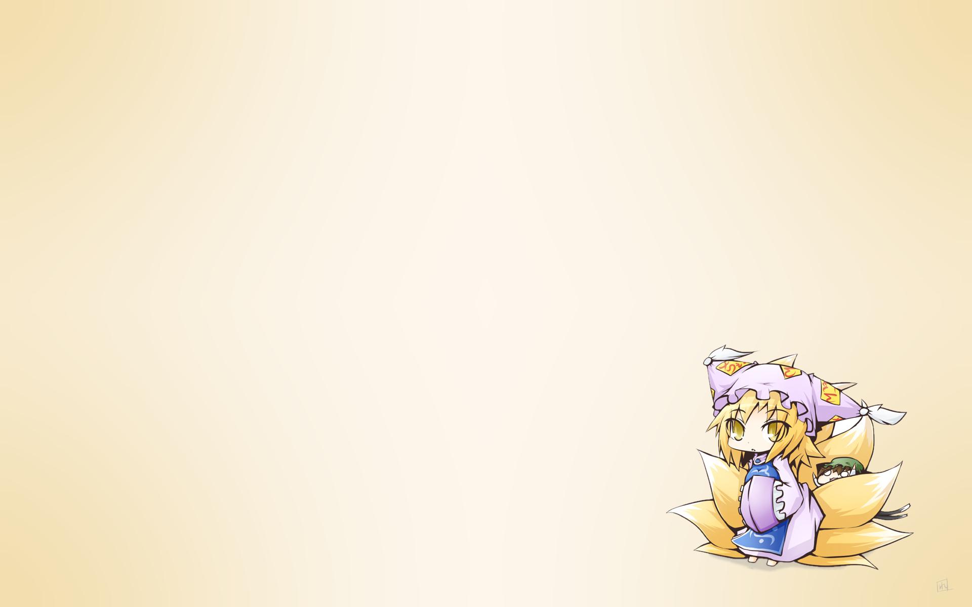 animal_ears catgirl chen chibi foxgirl gradient hat multiple_tails reku short_hair tail touhou yakumo_ran