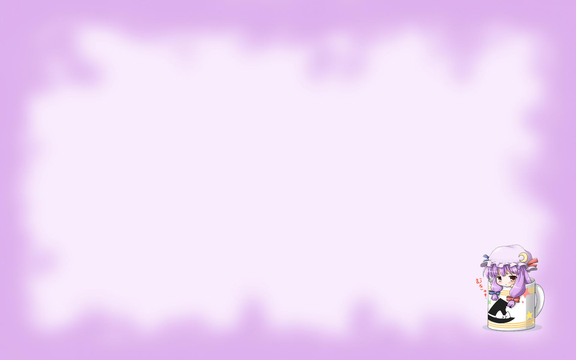 blush chibi neko_yume patchouli_knowledge purple_hair touhou