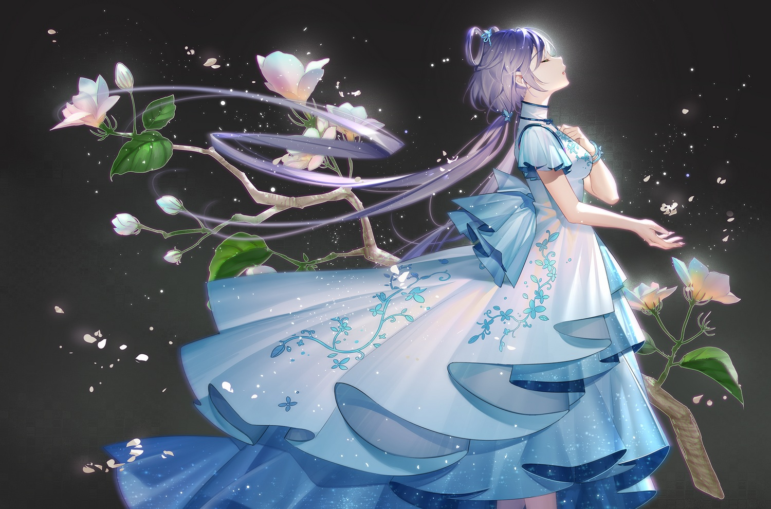 chinese_clothes chinese_dress dress flowers gray long_hair luo_tianyi purple_hair tidsean twintails vocaloid vocaloid_china wristwear