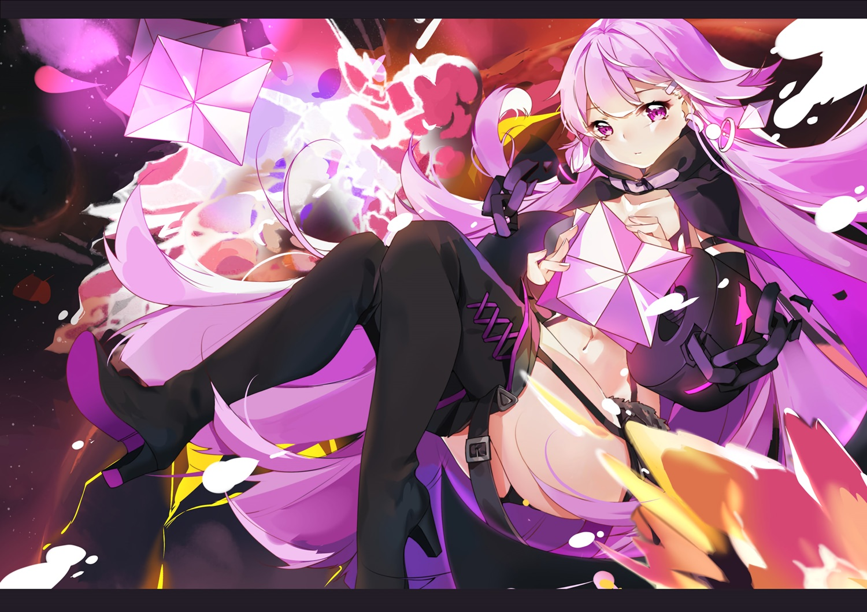 chain forever_7th_capital garter_belt natie_(latte) navel purple_eyes purple_hair shorts thighhighs
