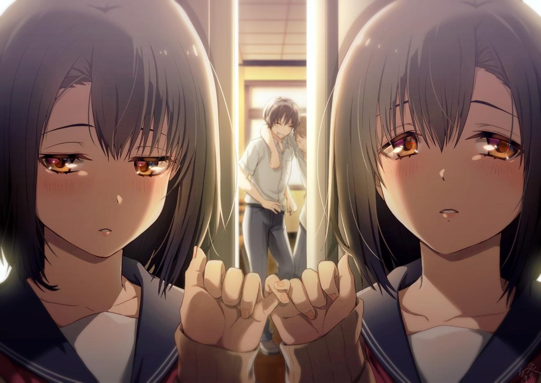 2girls black_hair blush close group male natsuki_yuka orange_eyes original seifuku short_hair twins