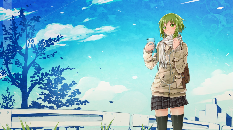 blush clouds green_eyes green_hair gumi headphones phone scarf short_hair skirt sky thighhighs toudou_charo tree vocaloid zettai_ryouiki