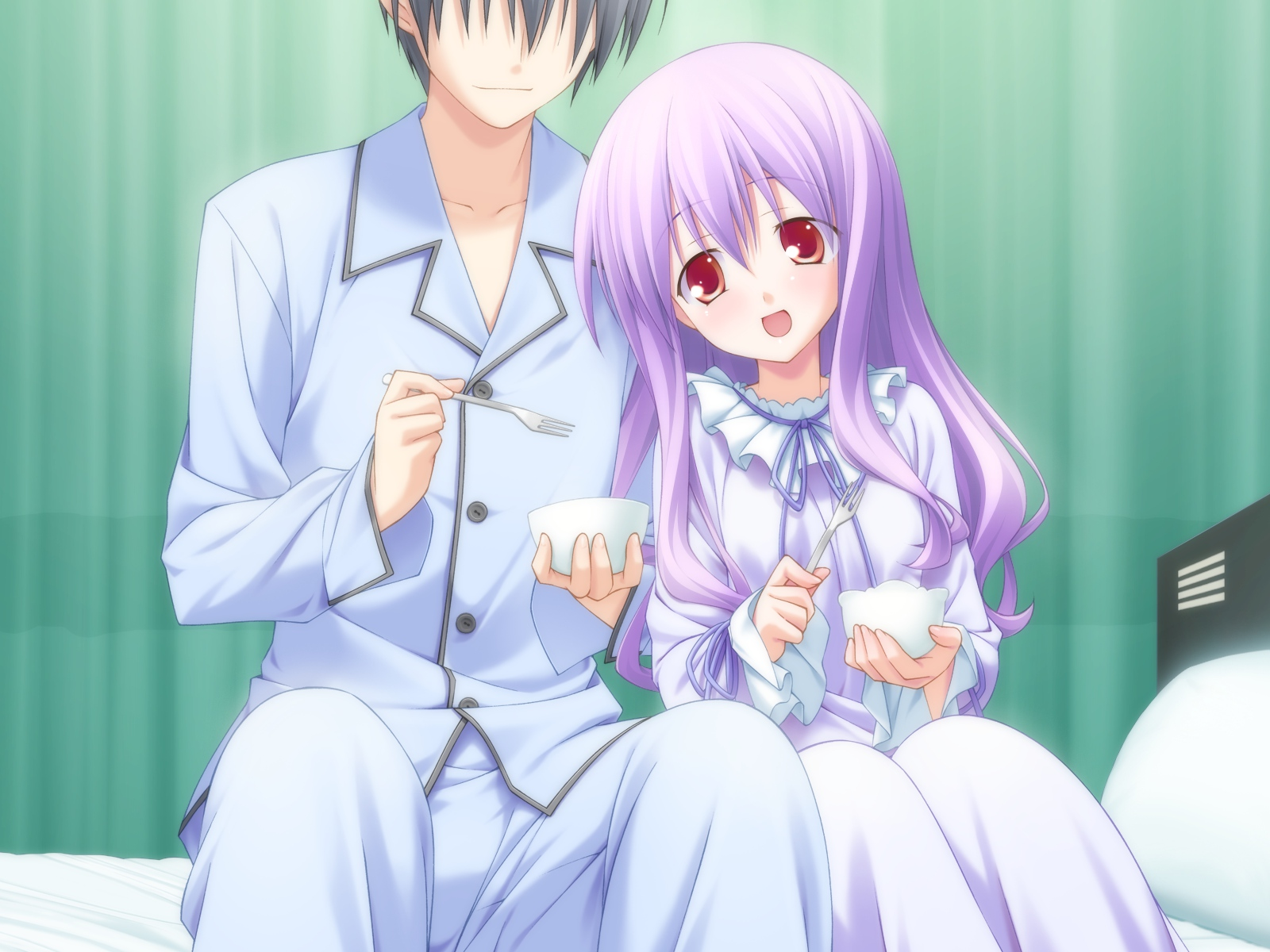 game_cg purple_hair red_eyes valentine_pink