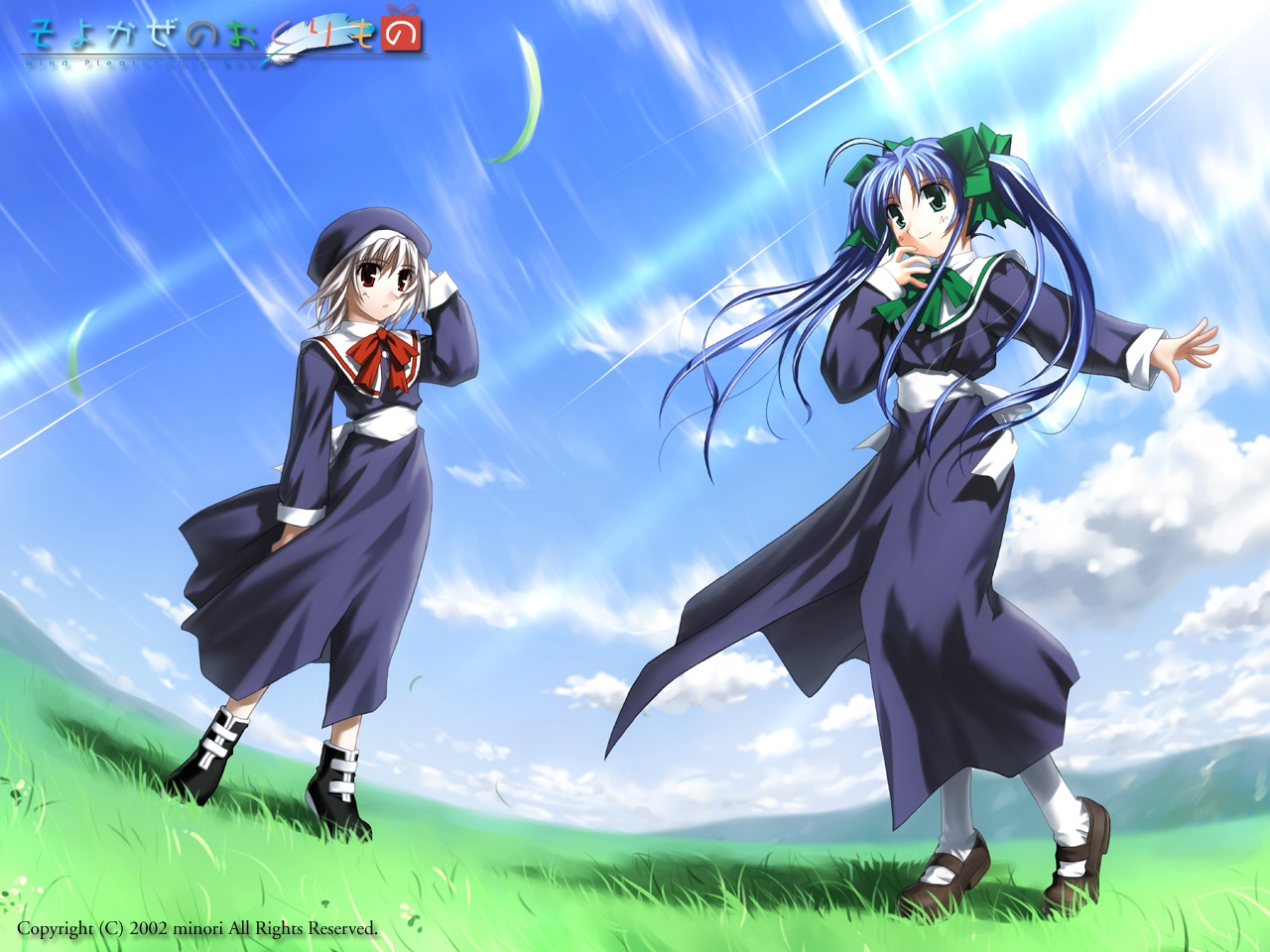 blue_hair narukaze_minamo seifuku tsukishiro_hikari white_hair wind_a_breath_of_heart