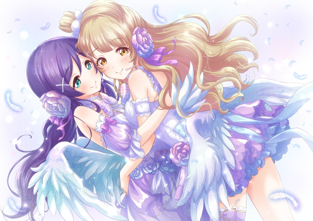 blonde_hair bow dress feathers flowers garter green_eyes hug long_hair love_live!_school_idol_project microphone minami_kotori purple_hair toujou_nozomi twintails white wings yellow_eyes yuuki_(yukinko-02727)