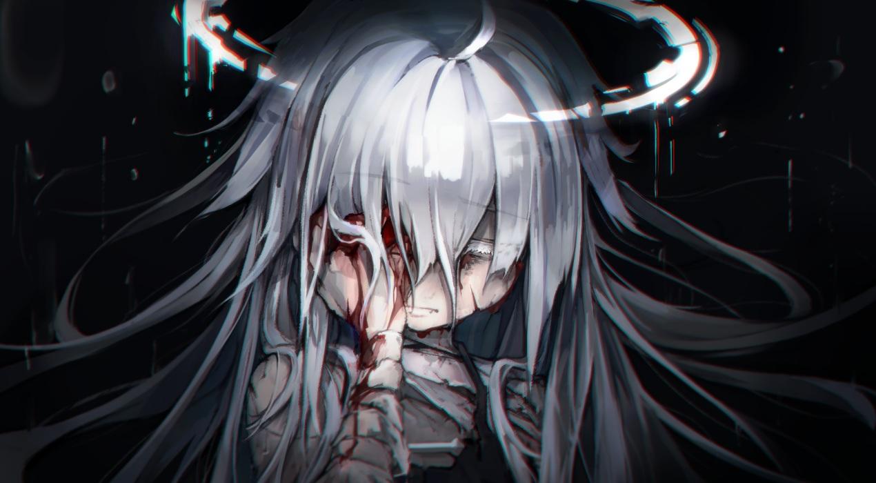 bandage black blood close dark gray_hair halo kajaneko loli long_hair original