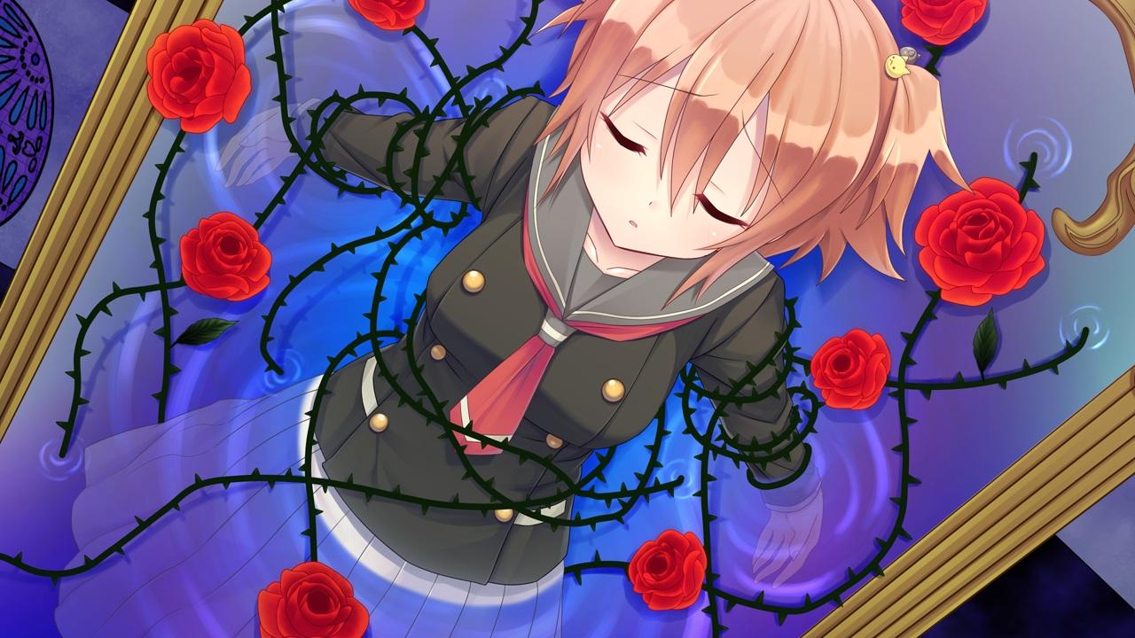 aragaki_akira bondage flowers game_cg kamitsure_~7_no_nijou_fushigi~ magic mirror mizuki_kotora orange_hair rose school_uniform short_hair skirt water