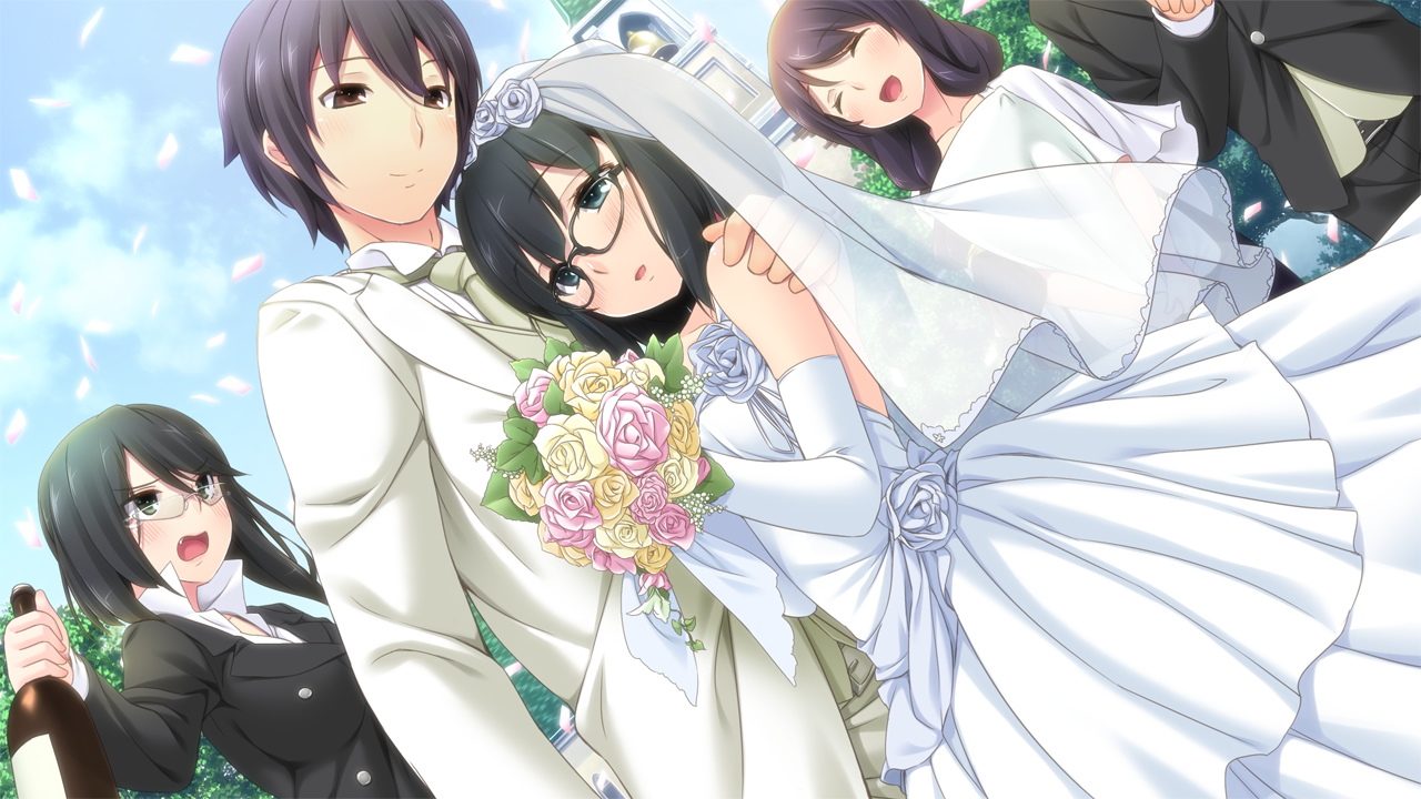 black_hair drink game_cg glasses group hinasaki jirai_soft kawashima_hideya kawashima_youko male short_hair susonobe_minami susonobe_nami tsuisou_no_augment wedding wedding_attire