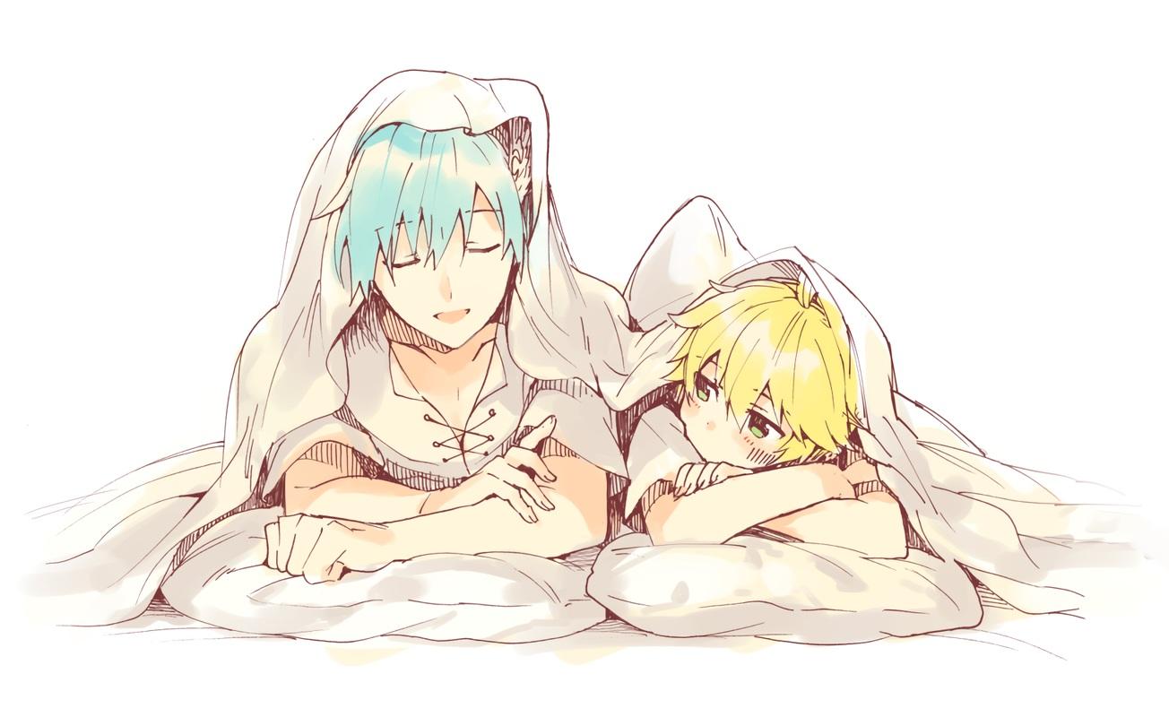 all_male aqua_hair bed blonde_hair green_eyes kagamine_len kaito male polychromatic short_hair sinaooo sketch vocaloid waifu2x