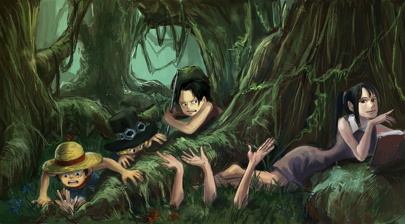 barefoot black_hair blonde_hair book dress flowers forest goggles grass monkey_d_luffy nico_robin one_piece ponytail portgas_d_ace sabo short_hair tree