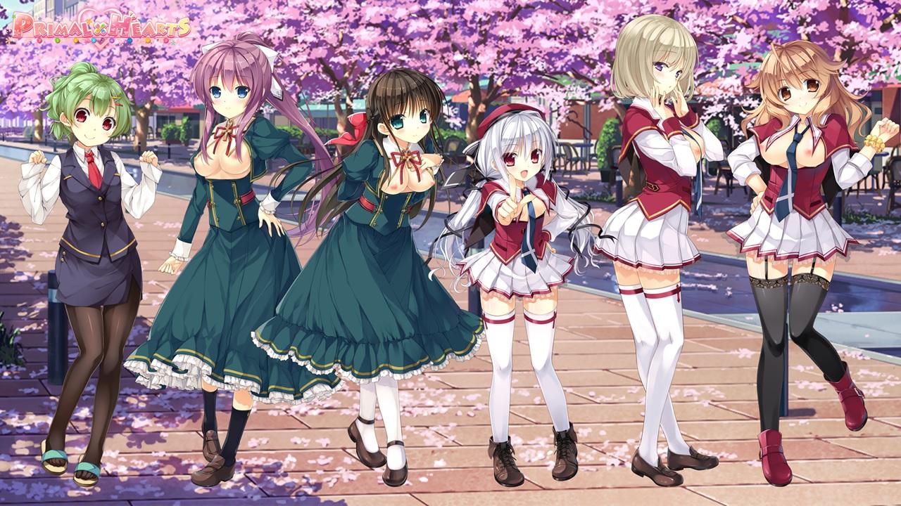 ashishun breasts cherry_blossoms flowers kanna_kana kokonoka komagata_yuzuki kouzuka_michi kuragano_sera logo marmalade motoyurugidou_mei nipples no_bra primal_x_hearts sasorigatame school_uniform tenjindaira_haruhi thighhighs tie