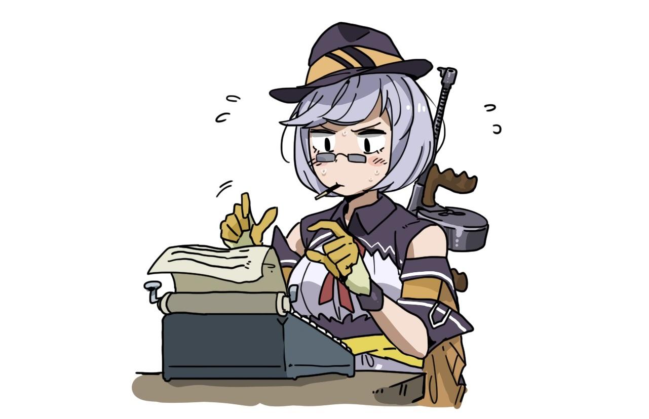 anthropomorphism anyan_(jooho) girls_frontline glasses gloves gray_hair gun hat thompson_(girls_frontline) weapon