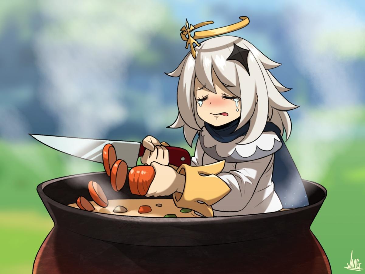 crying fairy food genshin_impact gray_hair halo jmg knife paimon_(genshin_impact) parody scarf short_hair signed tears tom_and_jerry
