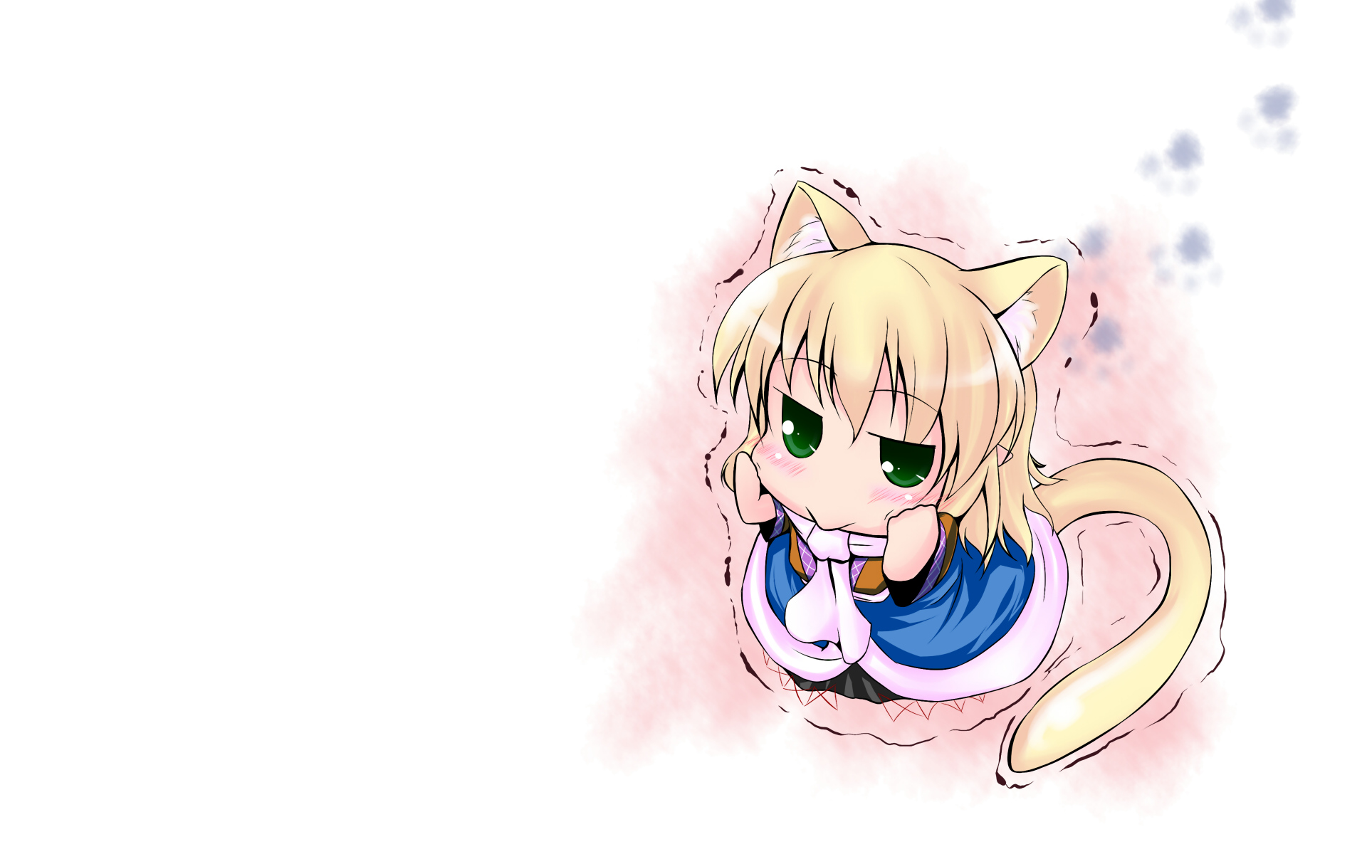 animal_ears blush chibi hoshizuki_(seigetsu) mizuhashi_parsee pointed_ears tail touhou white