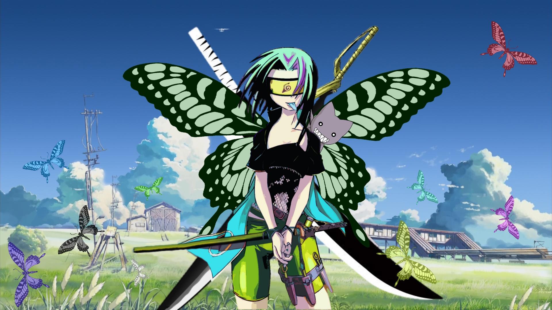 animal azumanga_daioh bleach busou_renkin butterfly cat haruno_sakura katana kumo_no_mukou_yakusoku_no_basho naruto ninja sword tasaka_shinnosuke third-party_edit vector weapon
