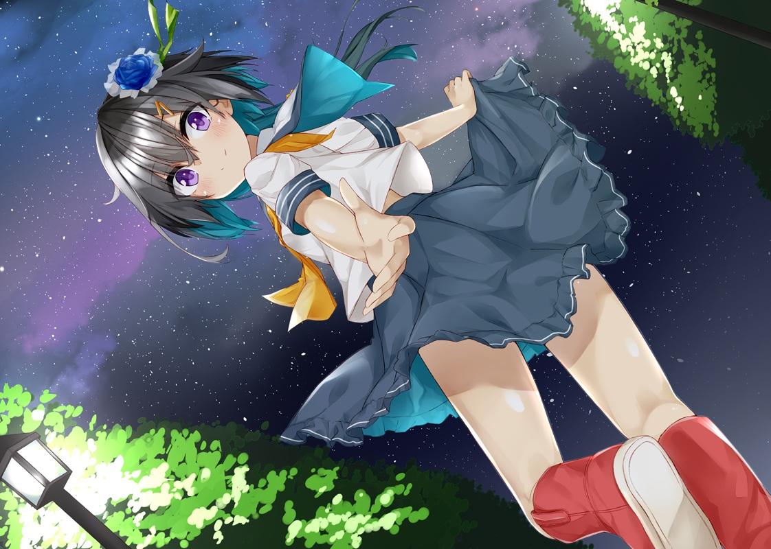 black_hair blush boots flowers kavka night original purple_eyes ribbons school_uniform short_hair skirt sky stars